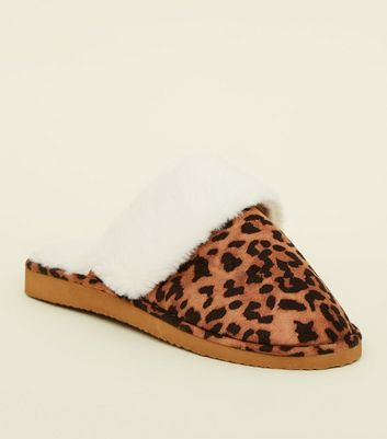 Brown Leopard Print Faux Fur Lined Mule Slipper