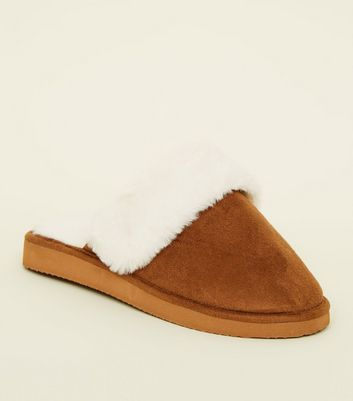 Tan Faux Fur Lined Mule Slippers