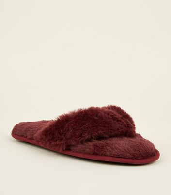 Dark Red Faux Fur Flip Flop Slippers