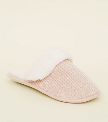 Pink Chenille Faux Fur Lined Mule Slippers