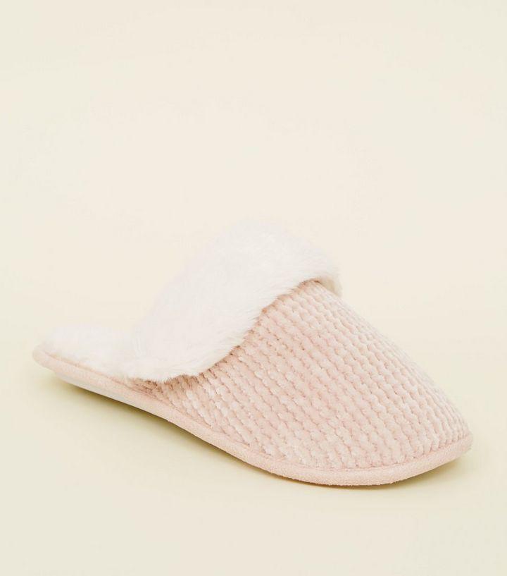 7da56d8b1e2f Pink Chenille Faux Fur Lined Mule Slippers
