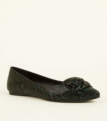 Wide Fit Green Faux Snake Print Bow Ballerina Pumps