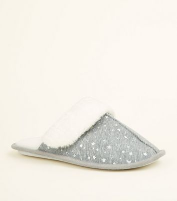 Grey Star Print Faux Fur Lined Mule Slippers