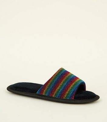 Rainbow Glitter Stripe Slippers