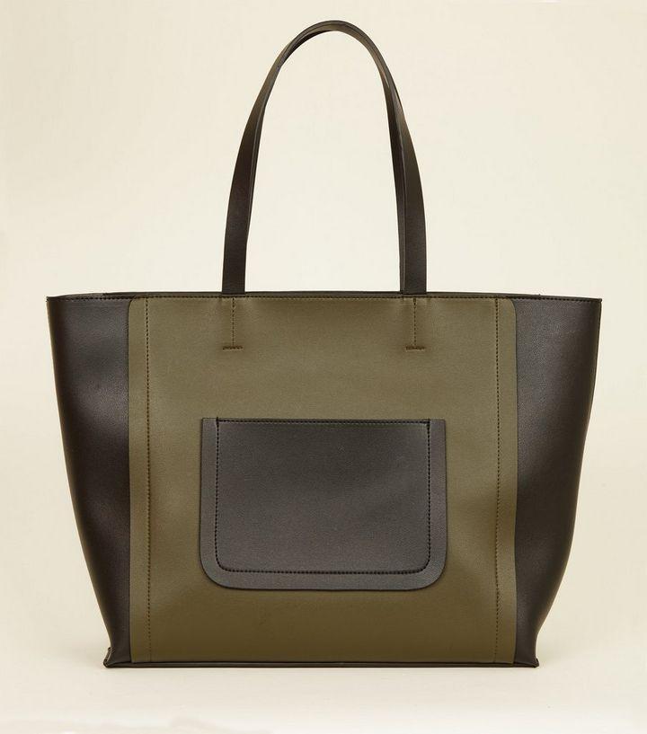 Khaki Leather Look Colour Block Tote