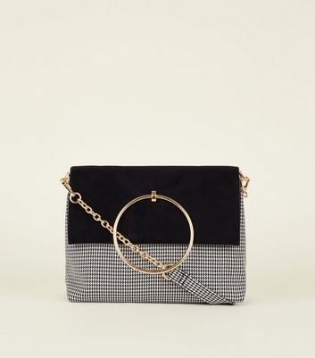 Black Houndstooth Ring Handle Shoulder Bag