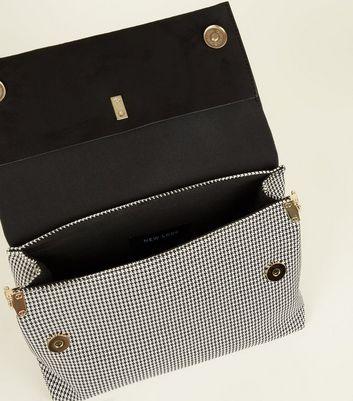 Black Houndstooth Ring Handle Shoulder Bag New Look