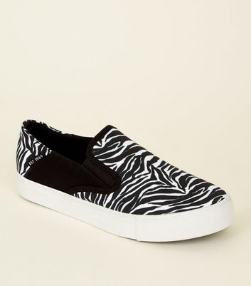 Black Zebra Print Slip On Canvas