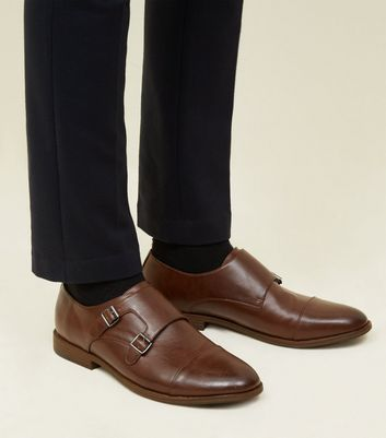 Dark Brown Double Strap Leather-Look Shoes