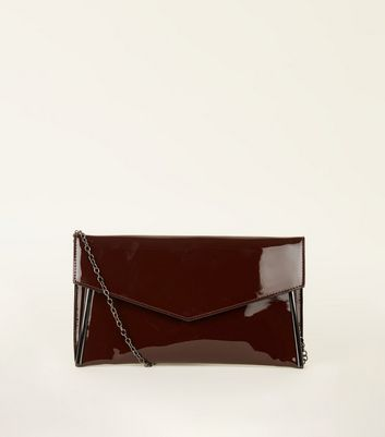 Burgundy Coated Leather-Look Metal Clutch Bag