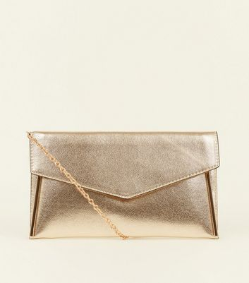 Gold Metal Trim Chain Strap Clutch Bag