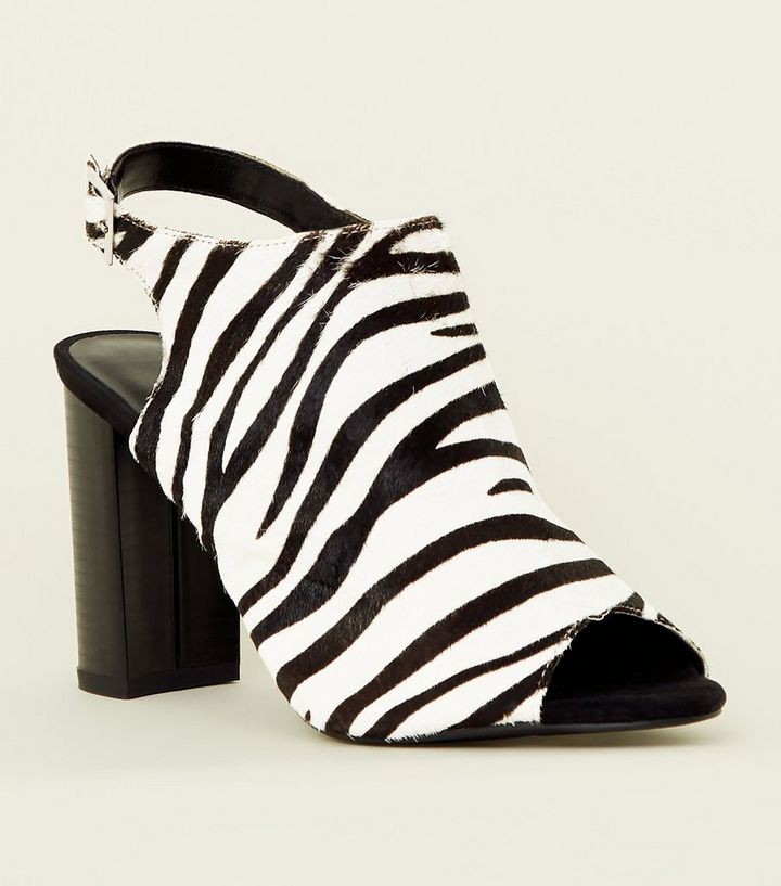 Black Leather Faux Pony Hair Zebra Print Heels Add to Saved Items Remove from Saved Items