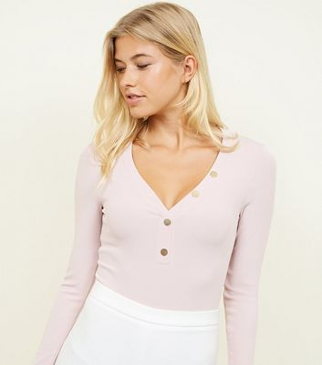Pale Pink Ribbed Button Front Bodysuit