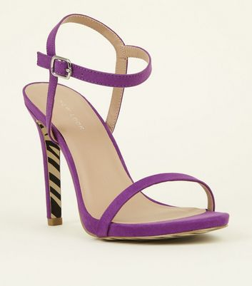 Purple Zebra Print Sole Barely Theres Sandals