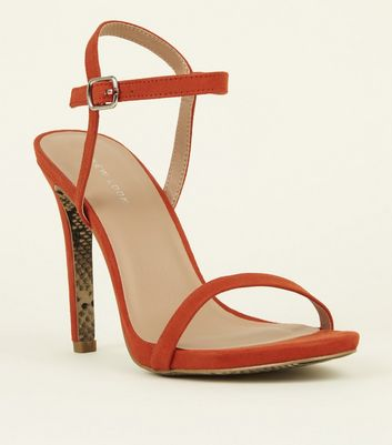 Orange Snake Print Sole Barely There Sandals
