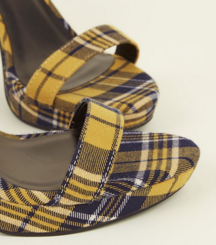 81a9ab4d94b Yellow Check Strappy Block Heel Sandals Add to Saved Items Remove from  Saved Items