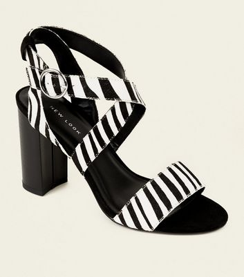 Black Leather Faux Pony Hair Zebra Print Sandals