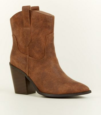 Tan Leather-Look Western Calf Boots