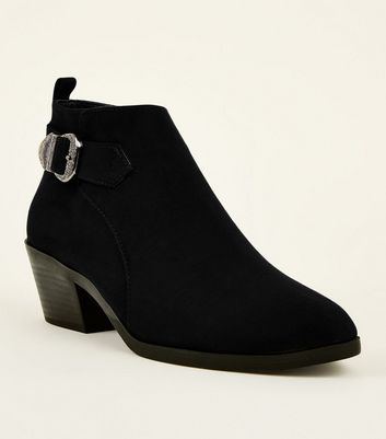 Girls Black Suedette Low Heel Western Boots