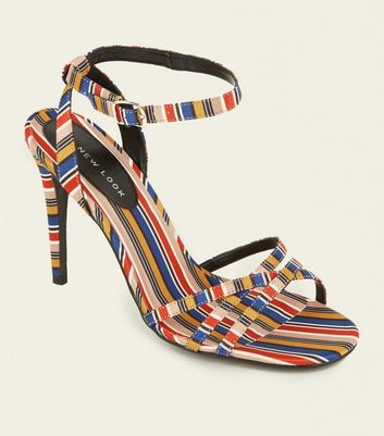Multicoloured Stripe Strappy Stiletto Heels