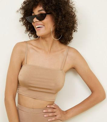 Camel Square Neck Strappy Crop Top