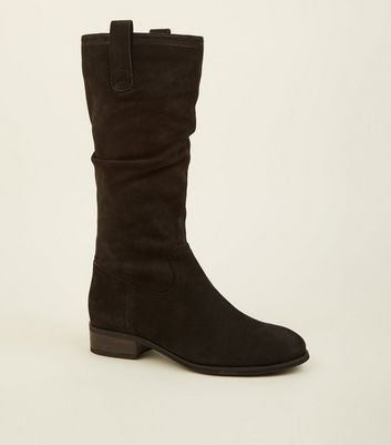 Black Suede Flat Calf Boots