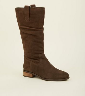 Brown Suede Flat Calf Boots by New Look