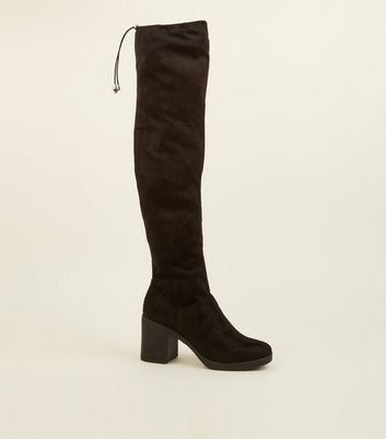 Black Suedette Square Toe Over the Knee Boots