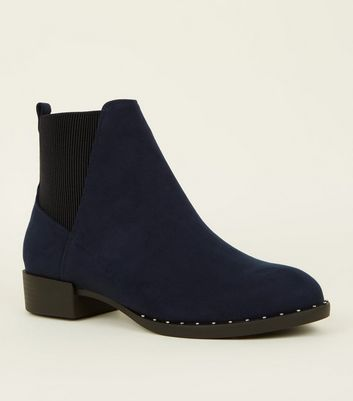 Navy Suedette Studded Sole Chelsea Boots