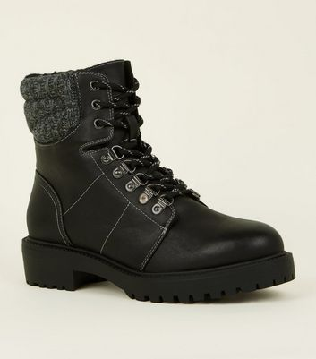 ... Black Knit Trim Lace-Up Boots ...