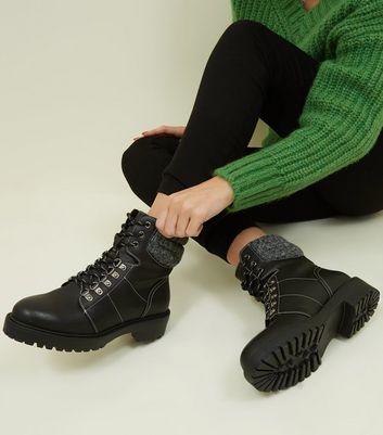 Black Knit Cuff Lace Up Hiker Boots
