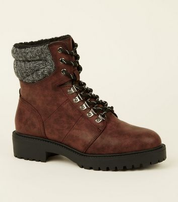 Dark Red Knit Cuff Lace Up Hiker Boots