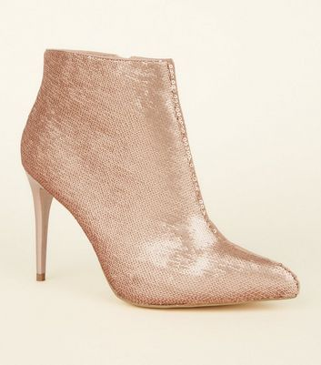 Rose Gold Sequin Pointed Heel Boots