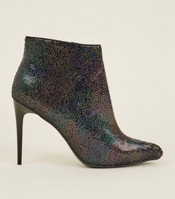 Rainbow  Sequin Pointed Heel Ankle Boots