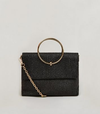 Black Straw Effect Metal Handle Bag