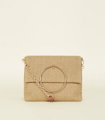 Stone Straw Metal Handle Bag
