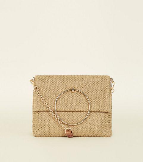 ... Stone Straw Effect Metal Handle Bag ...