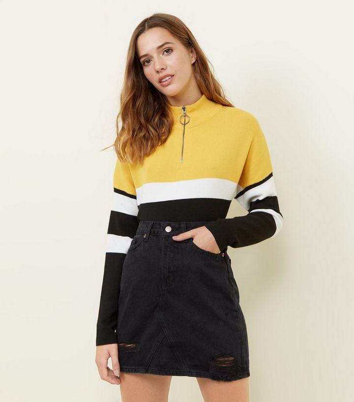 00f70c0bf9 Black Ripped Denim Mini Skirt