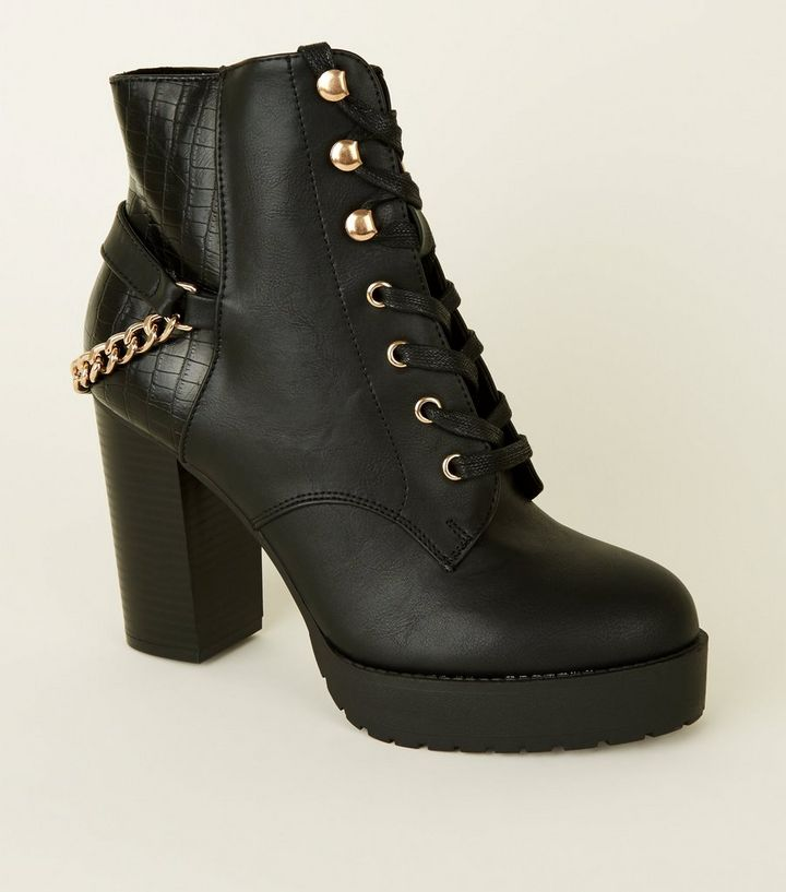902e06418b0e Black Lace-Up Chain Back Chunky Ankle Boots | New Look