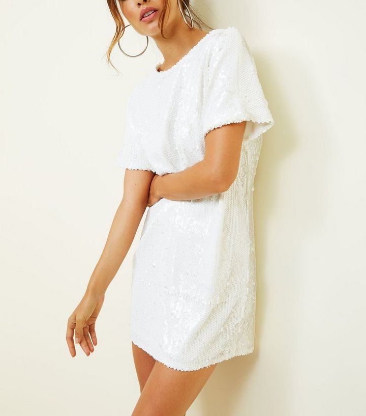 5e899a1c9f0 ... White Sequin Oversized T-Shirt Dress. ×. ×. ×. Shop the look
