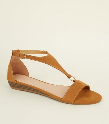 Tan Suedette Low Wedge Ring Strap Sandals