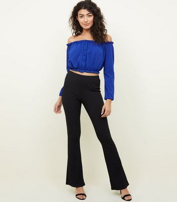 Bright Blue Button Front Bardot Crop Top