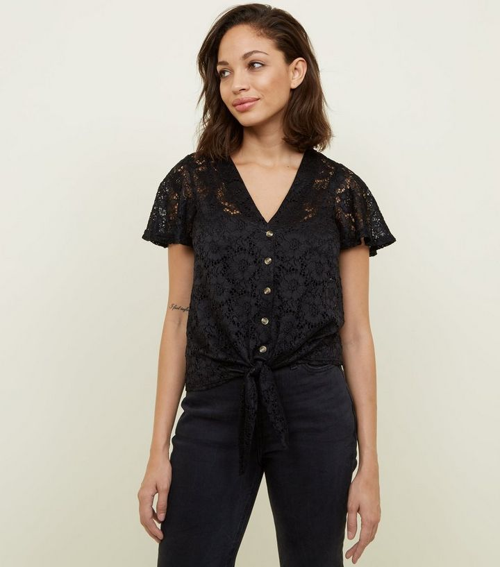 f086457a8a6 Black Lace Button Tie Front Top | New Look