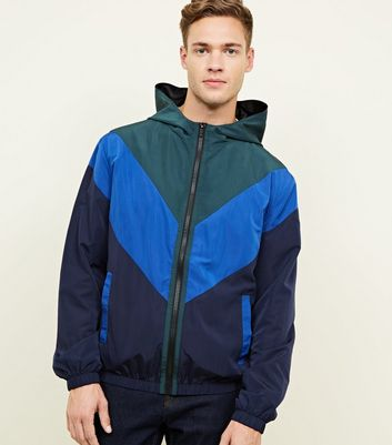 Blue Chevron Colour Block Windbreaker Jacket