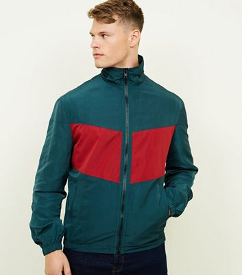 Red Colour Block Funnel Neck Jacket