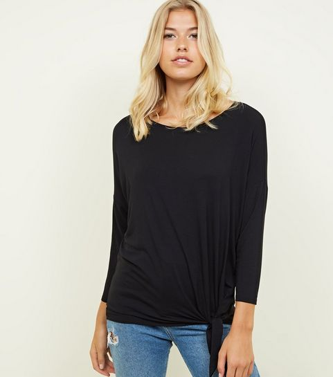 299bd6c1d1 ... Black Tie Side 3 4 Sleeve Oversized Top ...