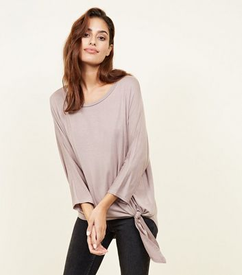 Light Brown Tie Side 3/4 Sleeve Oversized Top