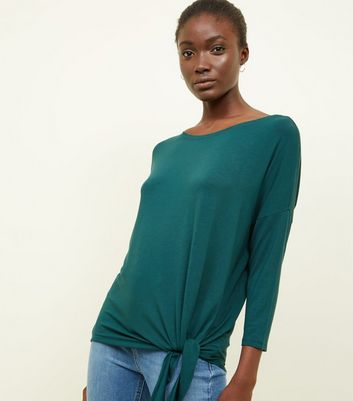 Dak Green Tie Side 3/4 Sleeve Oversized Top