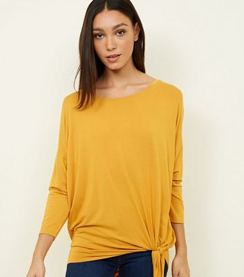 Mustard Tie Side 3/4 Sleeve Oversized Top