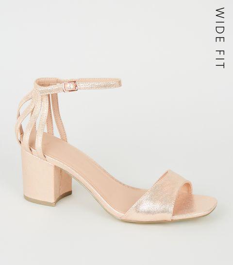 173689659cf8d ... Wide Fit Rose Gold Caged Back Block Heels ...